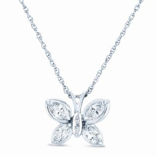 14k White Gold 3/4ct TDW Diamond Butterfly Necklace (H I, SI1 SI2