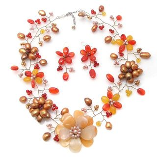 Silver Pearls and Gemstones Floral Jewelry Set (3 15 mm) (Thailand