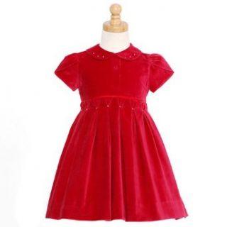 Girls Red Velvet Short Sleeve Pearl Christmas Dress Baby