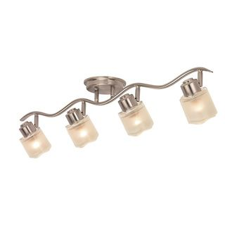 Contemporary Brushed Nickel 4 light Semi flush Rail Fixture