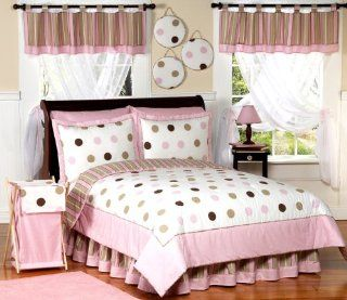 Pink and Brown Modern Dots Teen Bedding 3pc Full / Queen