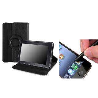 Black Leather Swivel Case/ Black Stylus for  Kindle Fire