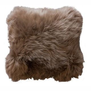 Decorative Sheepskin Light Brown Wool Pillow