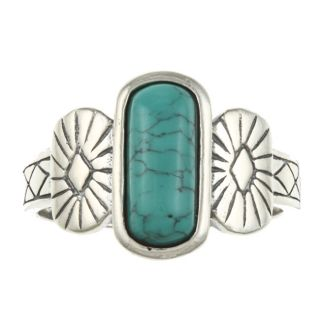 Southwest Moon Sterling Silver Rectangular Turquoise Ring Today $29