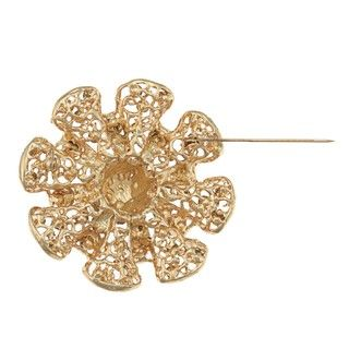 Adrienne Vittadini Goldtone Glass Floral Gifting Pins Flower Brooch