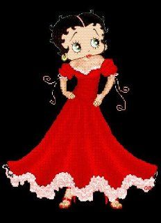 Betty Boop in Red Cross Stitch Chart Arts, Crafts