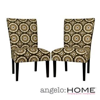angeloHOME Bradford Modern Pinwheel Chocolate Brown Armless Chair Set