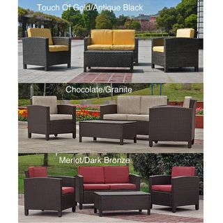 Saint Maarten Resin Wicker Upholstered 4 Piece Outdoor Set