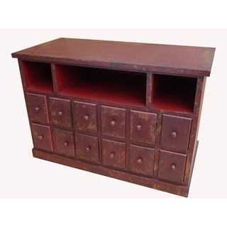Shabby Chic Red 4 drawer/ 2 door V Console able