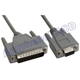 DB25 Male to DB9 Female Null Modem Cable   Double Shielded
