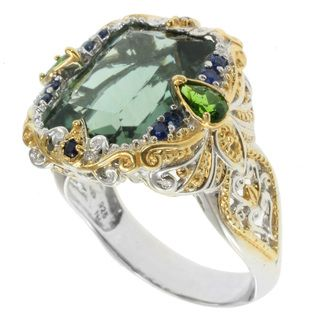 Michael Valitutti Two tone Forest Green Quartz Ring