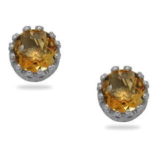 Sterling Silver Crown set 6 mm Round cut Citrine Stud Earrings