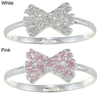Sterling Silver Clear Cubic Zirconia Bow Baby Ring