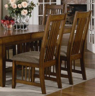 Set of 2 Dining Chairs Mission Style Warm Medium Oak