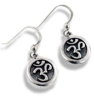 OM or Aum Hindu Yoga Symbol Sterling Silver Round Hook