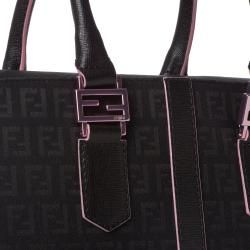 Fendi Zucchino Black Canvas Tote Bag