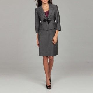 Nine West Womens Dark Grey Belted Skirt Suit