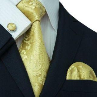 Landisun 164 Yellows Paisleys Black Stitching Silk Tie Set