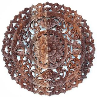 Light Teak Oil Carved Round Lotus Panel (Thailand) Today $109.99 3.2