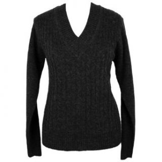 Black V neck Long Sleeve Cable Knit Sweater Clothing