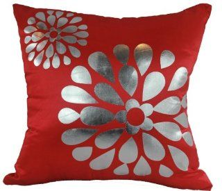Bright Red Pop Flowers 18x18 Decorative Silk Throw