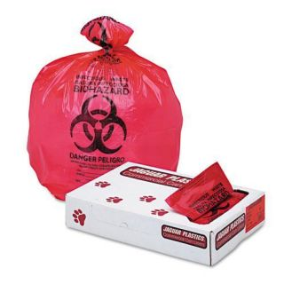 Jaguar Plastics Red 33 inch x 39 inch Health Care Bio hazard Printed