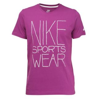 Coloris  violet. Tee shirt NIKE Homme, 100 % coton, col rond, manches