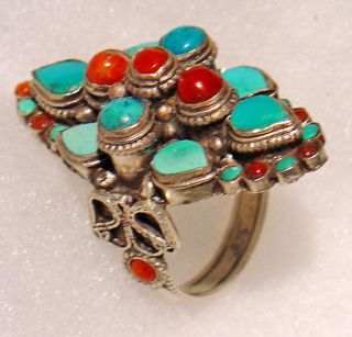 Large Tibetan Coral and Turquoise Ring (Nepal)