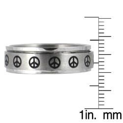Stainless Steel Peace Sign Spinner Ring