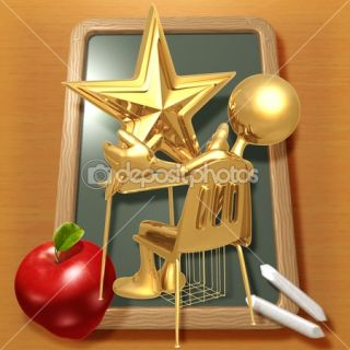 Little Golden Student With A Gold Star On School Desk  Stock Photo