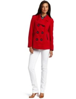 AK Anne Klein Womens Petite Solid Twill Coat, Red Poppy