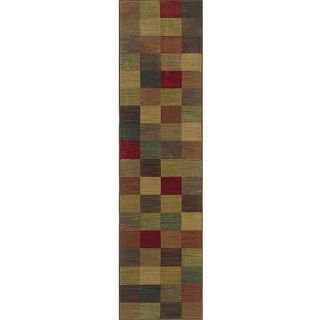Ellington Brown/Red Transitional Area Runner Rug (111 x 76
