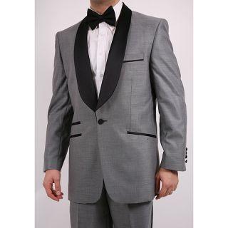 Ferrecci Mens Single button Shawl collar Grey Tuxedo