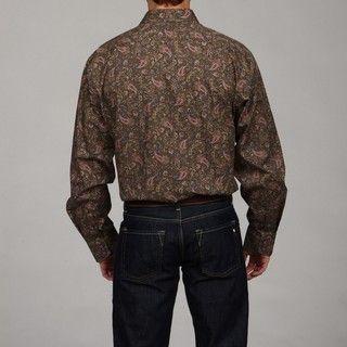 Thomas Dean Mens Paisley Print Woven Shirt