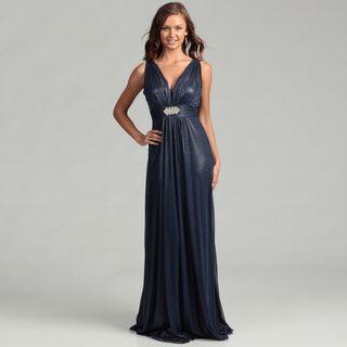 Hailey Adrianna Papell Womens Navy Rhinestone Brooch Dress