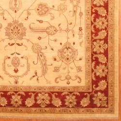 Afghan Hand knotted Vegetable Dye Ivory/ Red Wool Rug (82 x 112