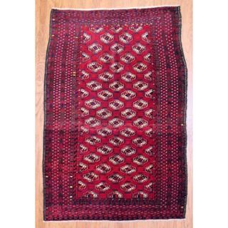Antique 1920s Persian Hand knotted Balouchi Red/ Navy Wool Rug (47 x