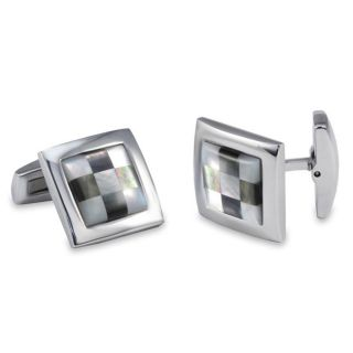 Stainless Steel Mother of Pearl and Abalone Checkerboard Cuff Links