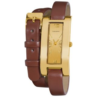 Vernier Womens Gold Tone V111 05 Brown Double Wrap Watch