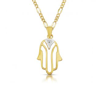 14k Two tone Gold Diamond Accent Hamsa Necklace Today $119.99