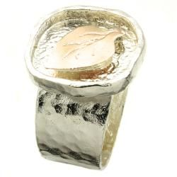 Beverly Hills Charm Silver and 14k Rose Gold Leaf Ring