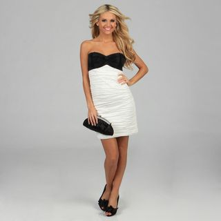 Onyx Nite Womens Black and Ivory Taffeta Bow Dress