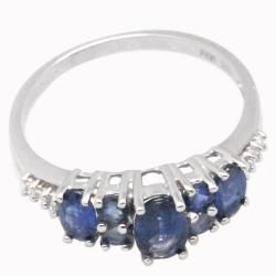 De Buman Sterling Silver Sapphire and White Topaz Ring