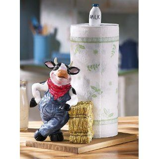Farmer Cow in Overalls Paper Towel Holder