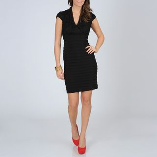 Richards Womens Black Shutter Pleat Dress