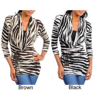 Stanzino Womens Animal Print 3/4 Sleeve Cowl Neck Top