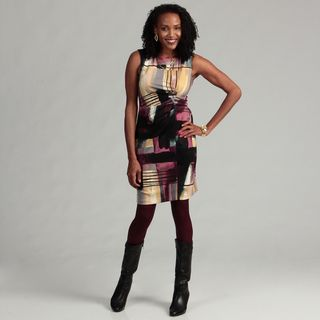 Calvin Klein Womens Ponte Printed Dress