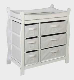 White Sleigh Style Changing Table with Six Baskets by
