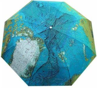 Three Elephant World Map Compact Auto Umbrella Sports