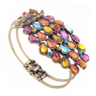 SODIAL(TM) Multi Vintage Colorful Crystal Peacock Bracelet